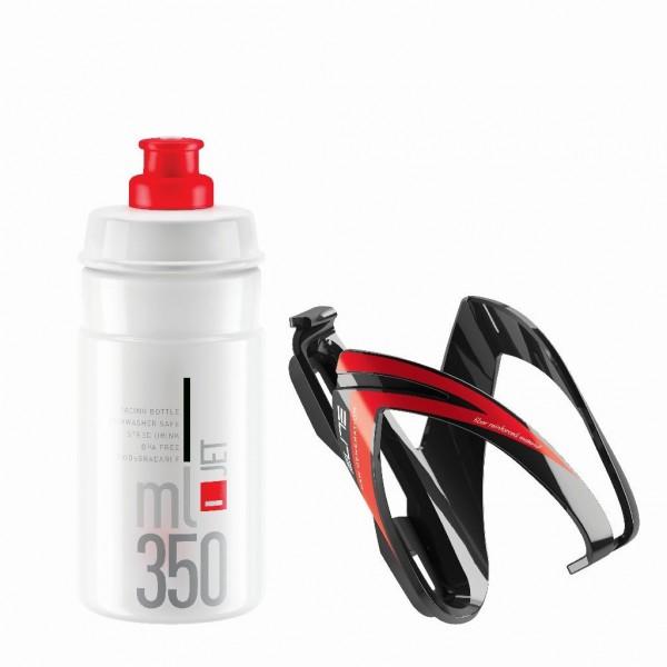 ELITE, Flasche + Flaschenhalter, KIT CEO BLACK glossy, red graphic diam 66mm + bottle JET 350 ml cl
