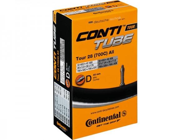 Continental, Bereifung, Schlauch, Tour 28 all, 32-622/47-622 (DV 40mm), Gewicht: ca. 220g, (Herst.-N