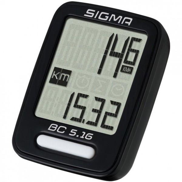Sigma Sport BC 5.16 Fahrrad Computer, 5 Funktionen, AS mit Kabel, schwarz 05160 VE 1/10