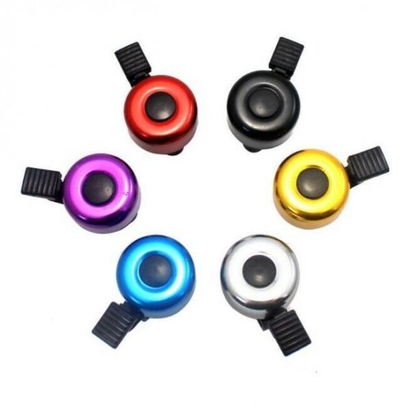 Glocke Mini Bell, Aluminium, farbig sortiert,rot, blau,silber,gelb,schwarz, lose geliefert im Krt.