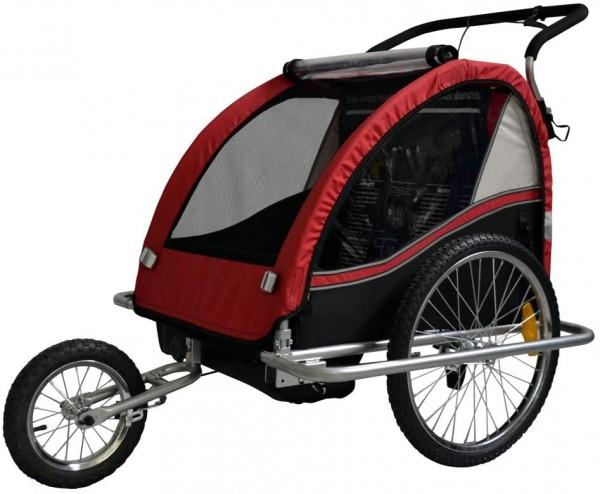 Kinder-Anhänger verwandelbar zu einem Kinderwagen rot/schwarz, CVC1032