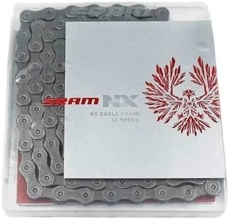 """SRAM Kette """"PC NX Eagle"""" 12-fach SB-verpackt, mit PowerLock, Außen- und Innenlasche grau, 278g (126"""