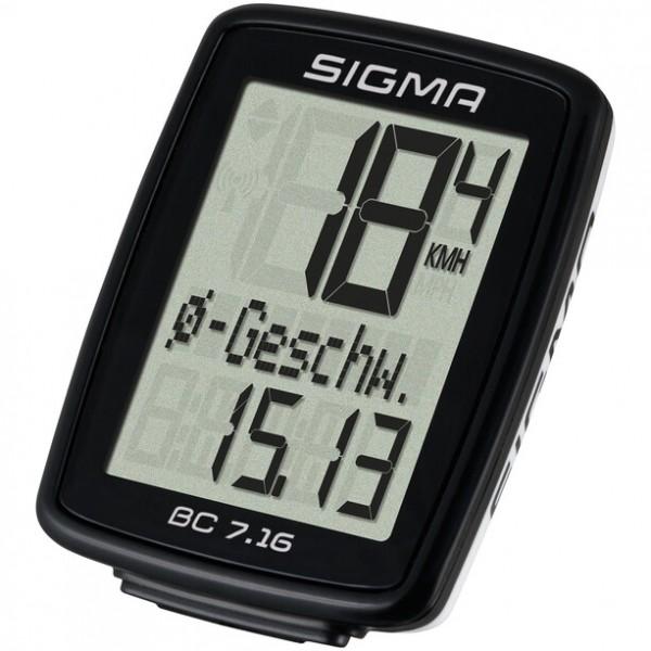 Sigma Sport BC 7.16 ATS Fahrrad Computer, 7 Funktionen, AS kabellos, schwarz 07162 VE 1/5