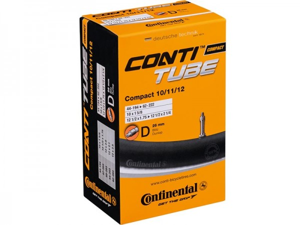 "Continental Compact 10"", 11"", 12"" Schlauch, 10 x 1 5/8"", 12 1/2 x 1,75-2 1/4"", DV, AS 44/62-194/222,"