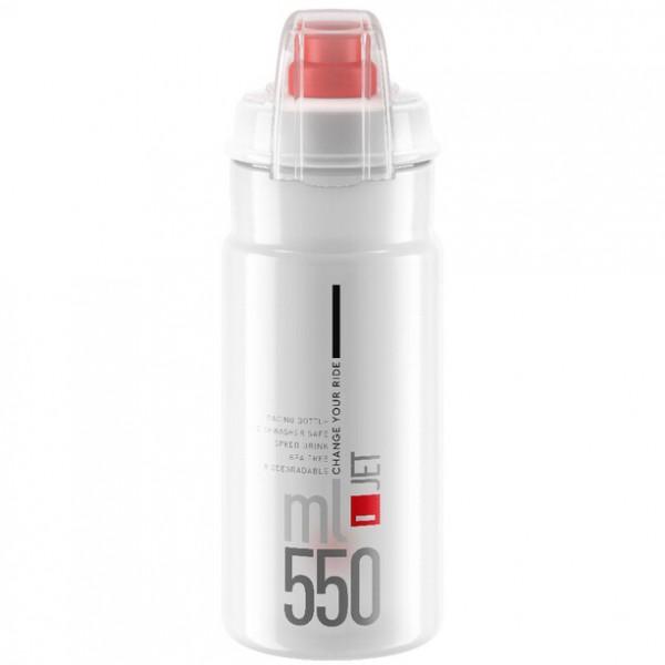 Elite Trinkflasche mit Schutzkappe Jet Plus Clear 550ml, rot logo